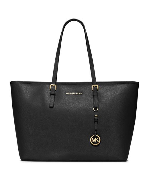 MICHAEL Michael Kors | Black Jet Set Medium Saffiano Leather Travel Tote | Lyst
