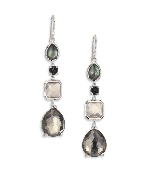 Ippolita | Metallic Rock Candy Black Tie Semi-precious Multi-stone & Sterling Silver Mixed Linear Drop Earrings | Lyst