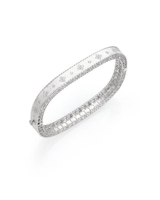 Roberto Coin | Princess Diamond & 18k White Gold Bangle Bracelet | Lyst