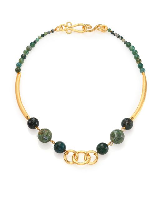 Stephanie Kantis | Palette Green Moss Agate Beaded Necklace | Lyst