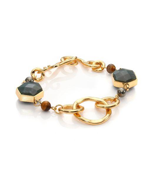 Stephanie Kantis | Metallic Nobility Blue Agate, Moss Green Agate & Smoky Topaz Bracelet | Lyst