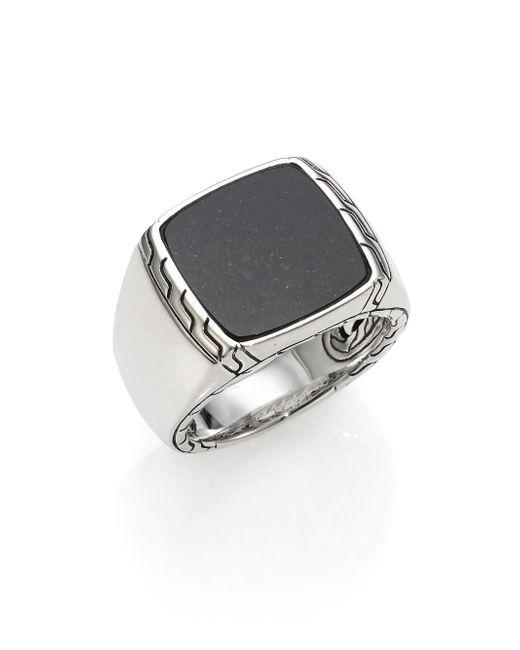 John Hardy | Black Lapis & Sterling Silver Batu Ring for Men | Lyst
