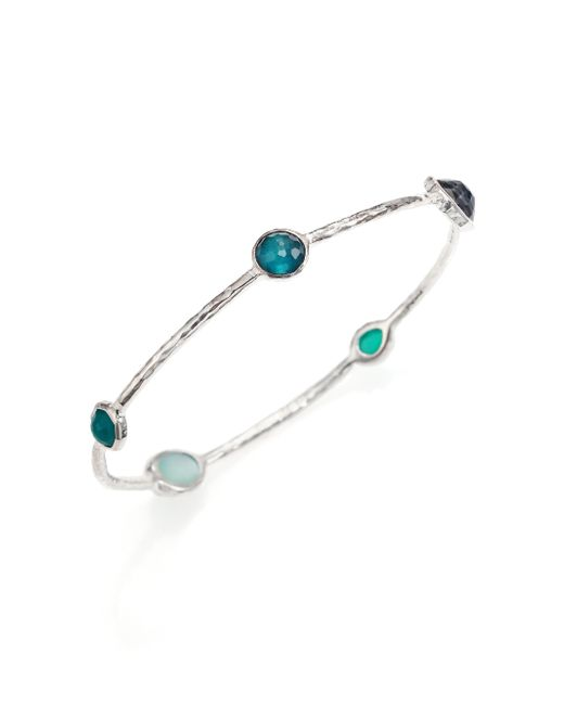 Ippolita | Blue Rock Candy Wonderland Neptune Semi-precious Multi-stone & Sterling Silver Station Bangle Bracele | Lyst