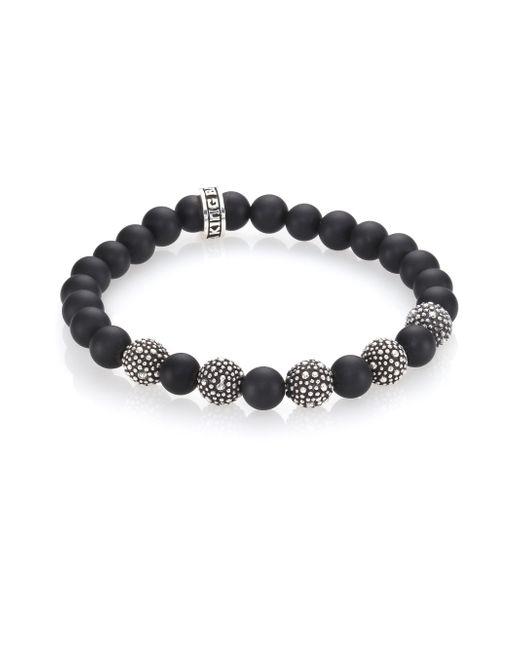 King Baby Studio | Metallic Black Onyx & Sterling Silver Bead Bracelet for Men | Lyst
