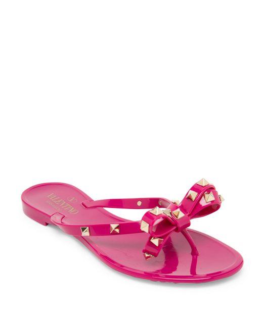 Valentino | Pink Rockstud Jelly Sandals | Lyst