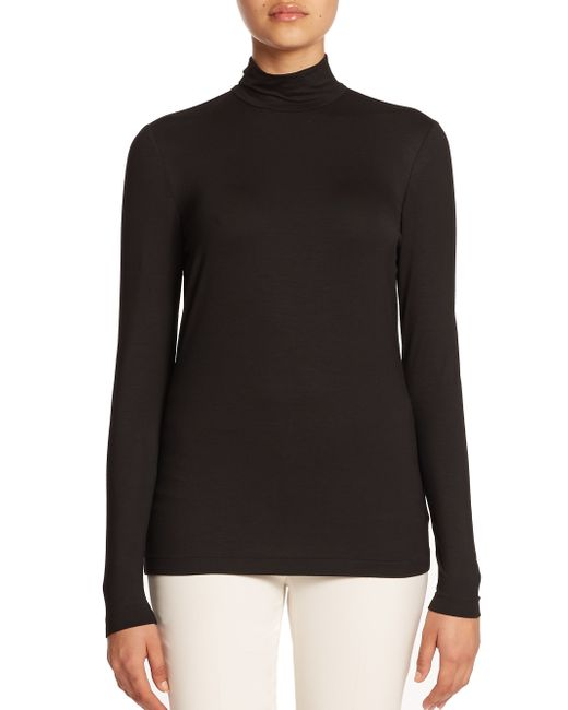 Lafayette 148 New York | Black Nouveau Jersey Mockneck Zip Top | Lyst