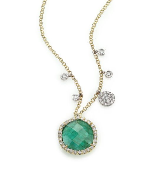 Meira T | Green Emerald, Diamond & 14k Yellow Gold Pendant Necklace | Lyst