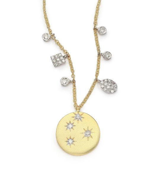 Meira T | Metallic Diamond & 14k Yellow Gold Starburst Disc Pendant Necklace | Lyst