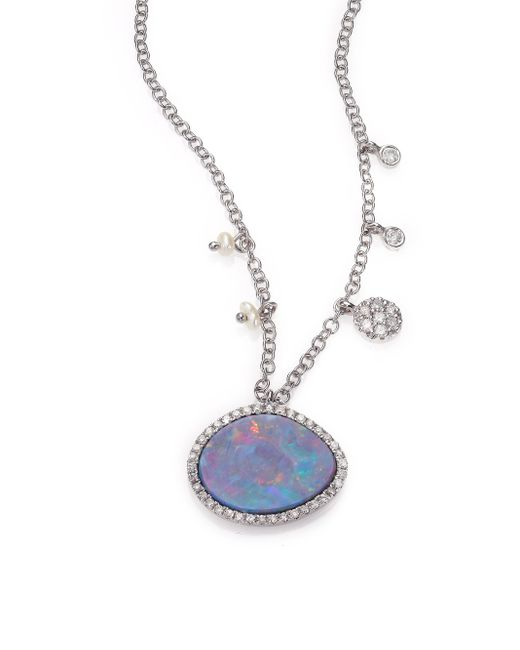 Meira T | Metallic Boulder Opal, Diamond & 14k White Gold Pendant Necklace | Lyst