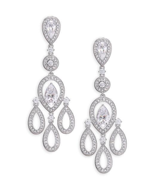 Adriana Orsini | Metallic Pave Pear Chandelier Earrings/silvertone | Lyst