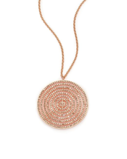 Astley Clarke | Pink Icon Light Grey Diamond & 14k Rose Gold Aura Long Large Pendant Necklace | Lyst