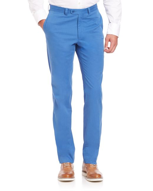 Saks Fifth Avenue | Blue Collection Stretch Cotton Trousers for Men | Lyst