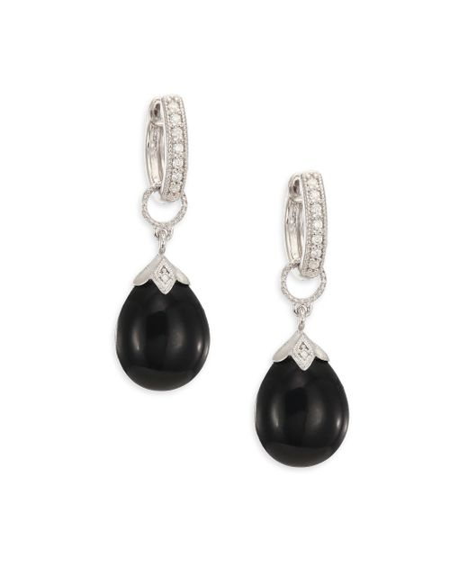 Jude Frances | Lisse Onyx, Diamond & 18k White Gold Pear Briolette Earring Charms | Lyst