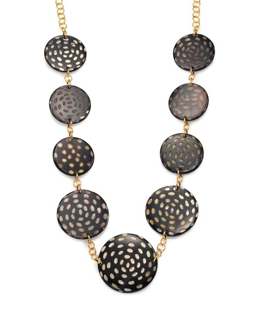 Nest | Black Spotted Horn Disc Station Necklace | Lyst