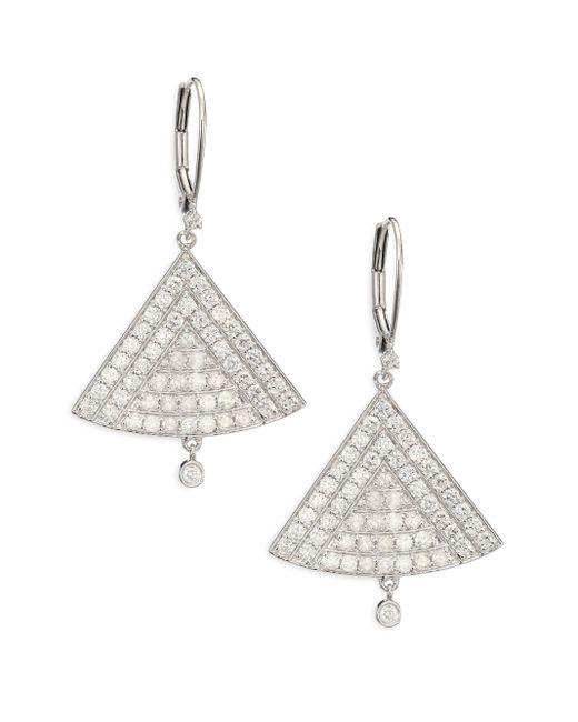 Meira T | Metallic Diamond & 14k White Gold Triangle Drop Earrings | Lyst