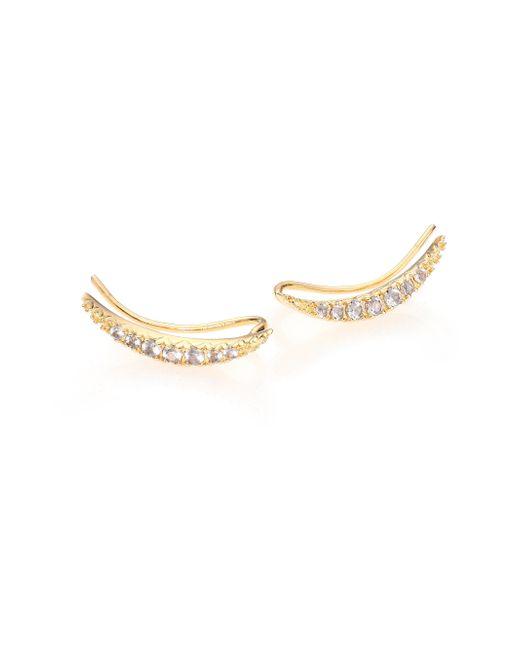 Elizabeth and James | Metallic Lunette Luna White Topaz Ear Cuffs | Lyst