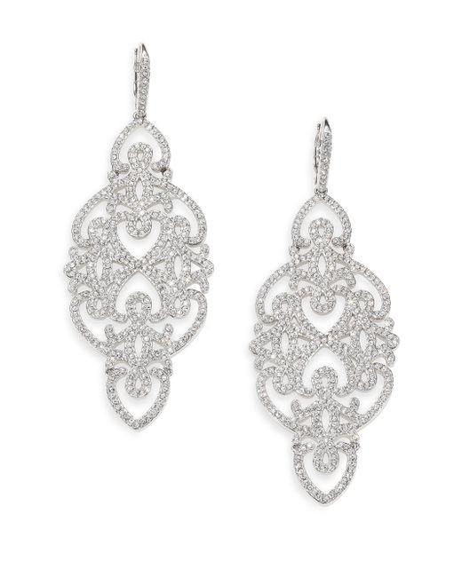Adriana Orsini | Metallic Statement Pave Crystal Gate Drop Earrings/silvertone | Lyst