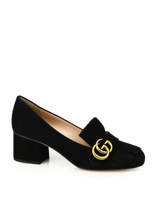 Gucci | Black Marmont Gg Suede Block Heel Pumps | Lyst