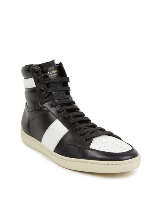 Saint Laurent | White Colorblock Leather High-top Sneakers for Men | Lyst