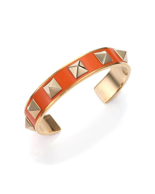Valentino | Orange Rockstud Lacquered Cuff Bracelet | Lyst