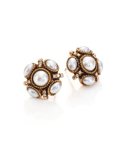 Oscar de la Renta   Metallic Crystal & Faux Pearl Stud Earrings   Lyst