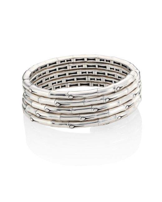John Hardy | Metallic Bamboo Sterling Silver Multi-row Coil Bracelet | Lyst