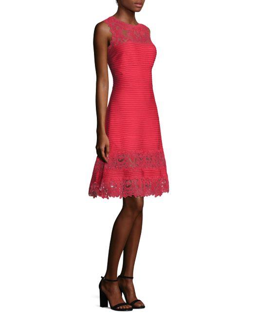 Tadashi Shoji   Red Lace-panel Dress   Lyst
