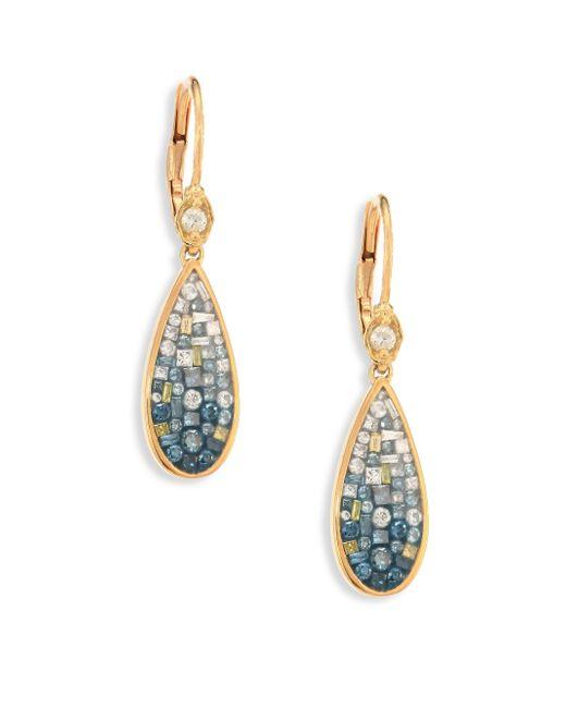Plevé   Metallic Marine Ombre Diamond & 18k Yellow Gold Teardrop Earrings   Lyst