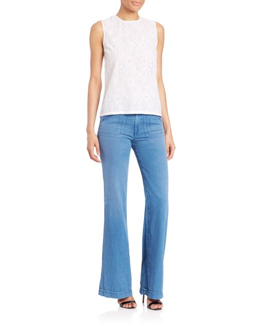 Ag jeans Carly Pintuck Wide Leg Jeans in Blue - Save 46% | Lyst