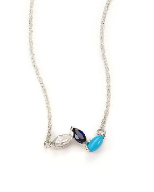 Jennifer Zeuner   Metallic Sterling Silver Crystal Necklace   Lyst
