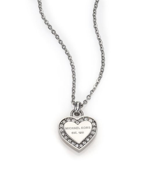 Michael Kors | Metallic Heritage Hearts Pave Logo Pendant Necklace/silvertone | Lyst