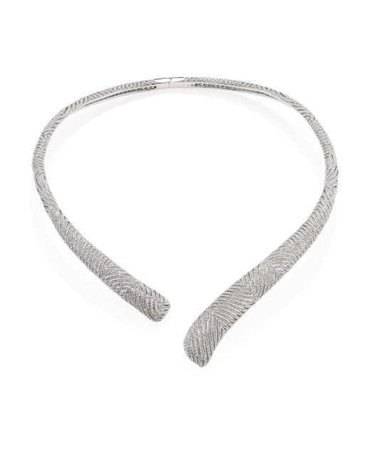 Adriana Orsini | Metallic Zen Pave Crystal Collar Necklace/silvertone | Lyst