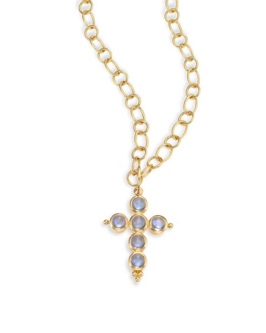 Temple St. Clair | Metallic Blue Moonstone & 18k Yellow Gold Small Cross Pendant | Lyst