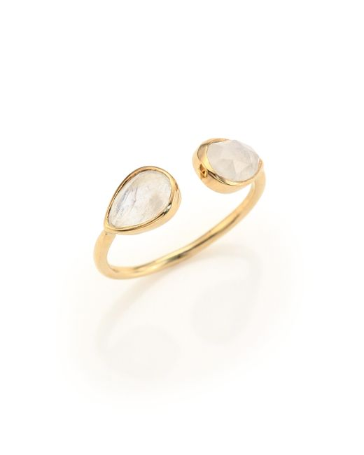 Jacquie Aiche | Metallic Double Teardrop Moonstone & 14k Yellow Gold Cuff Ring | Lyst