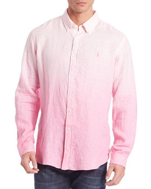 Polo ralph lauren short sleeve button down shirt in blue for Polo ralph lauren casual button down shirts