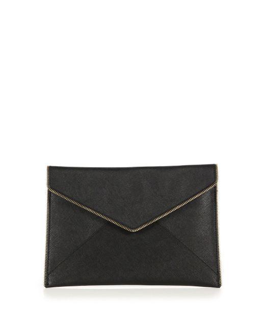 Rebecca Minkoff | Black Leo Saffiano Leather Envelope Clutch | Lyst