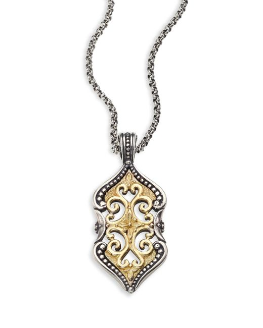 Konstantino | Metallic Hebe Engraved 18k Yellow Gold & Sterling Silver Pendant | Lyst