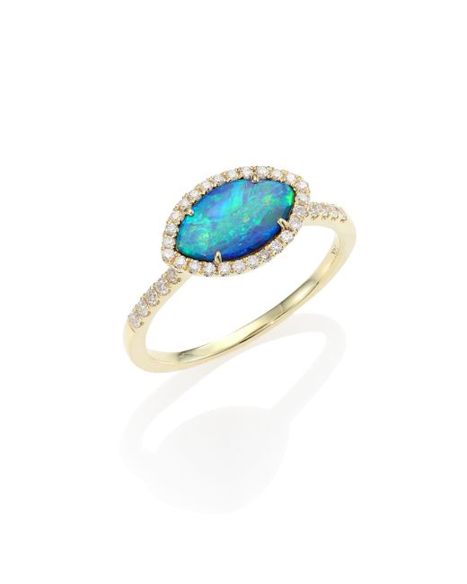 Meira T | Metallic Opal, Diamond & 14k Yellow Gold Marquise Ring | Lyst