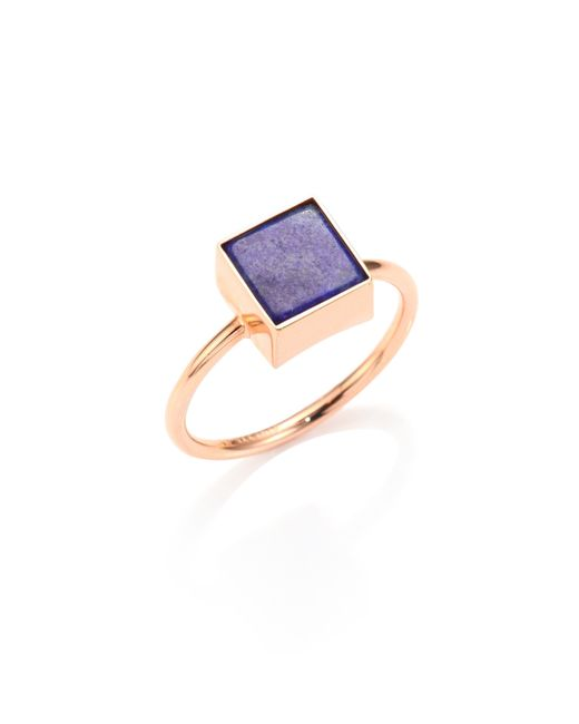 Ginette NY | Purple Wise Ever Lapis Lazuli & 18k Rose Gold Square Ring | Lyst