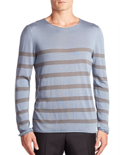 Giorgio Armani   Blue Striped Cotton, Silk & Cashmere Sweater for Men   Lyst