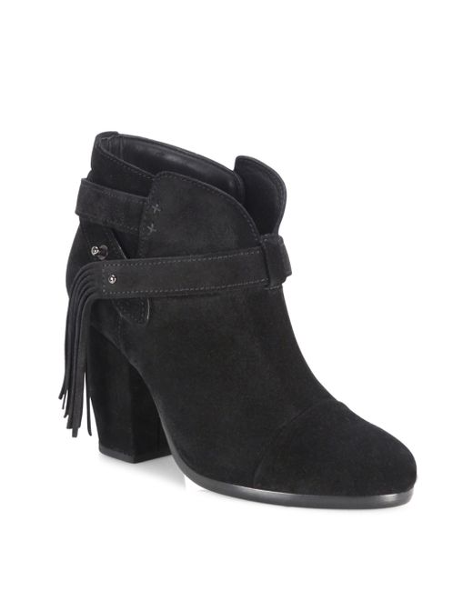 Rag & Bone | Black Harrow Fringe Suede Booties | Lyst