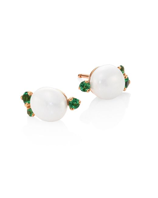 Pomellato | Metallic Tsavorite, Ceramic & 18k Rose Gold Stud Earrings | Lyst