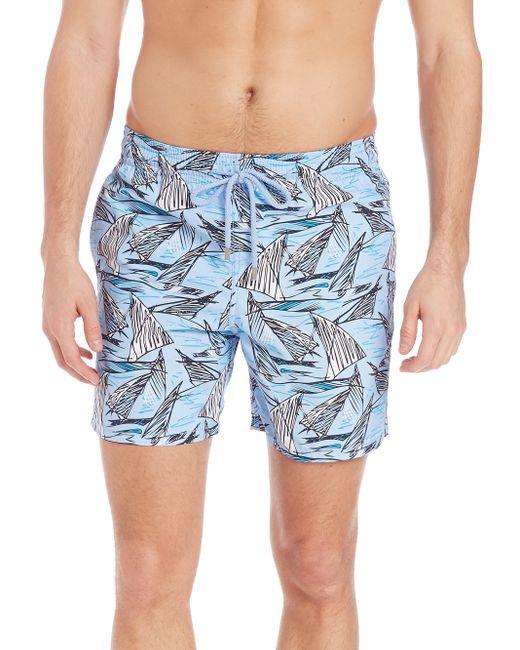 Vilebrequin | Blue Leaf-print Okoa Swim Trunks for Men | Lyst