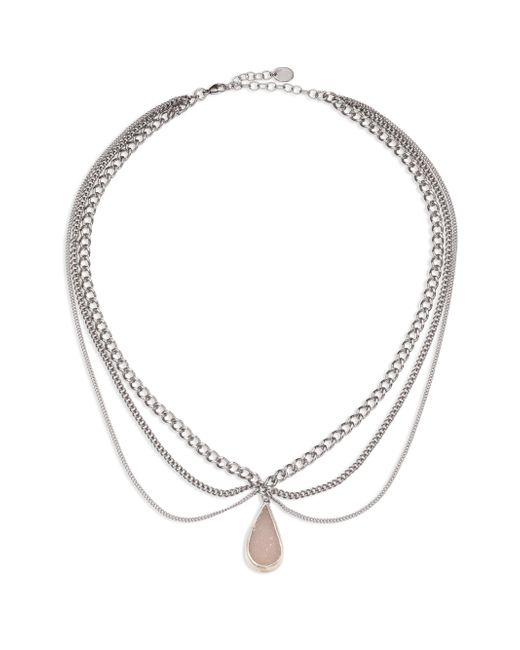 Chan Luu | Metallic Layered Chain & White Agate Necklace | Lyst