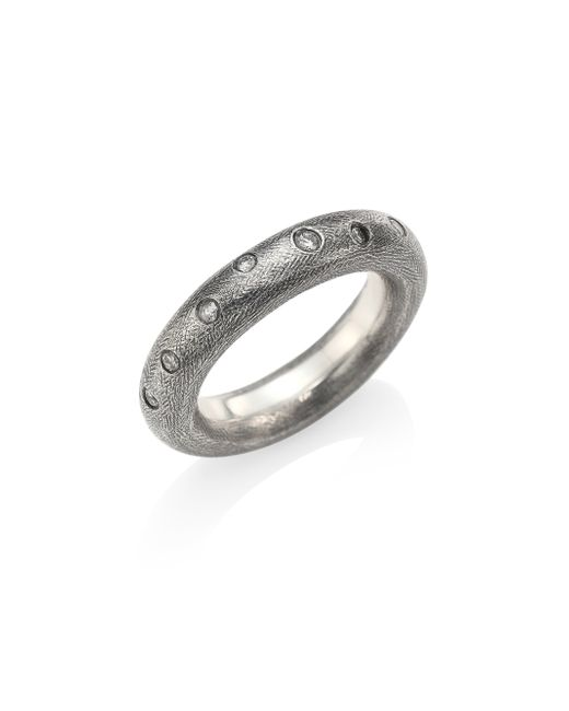 Rene Escobar | Metallic Diamond & Sterling Silver Rounded Band Ring | Lyst