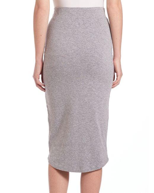 monrow midi length pencil skirt in gray granite lyst