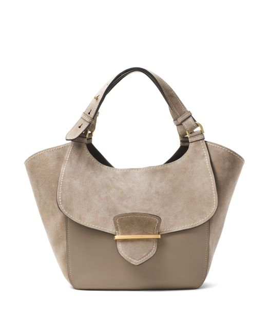 michael kors josie large suede leather shopper tote in gray dark taupe lyst. Black Bedroom Furniture Sets. Home Design Ideas