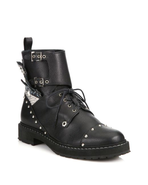 Luxury New Womens BG28 Black Studded Spike Mid Calf Military Combat Boots Sz
