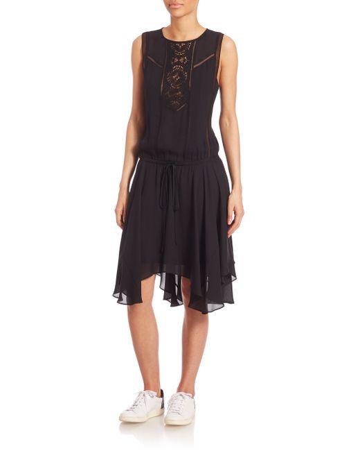 A.L.C. | Black Mitzi Draped Satin Dress | Lyst