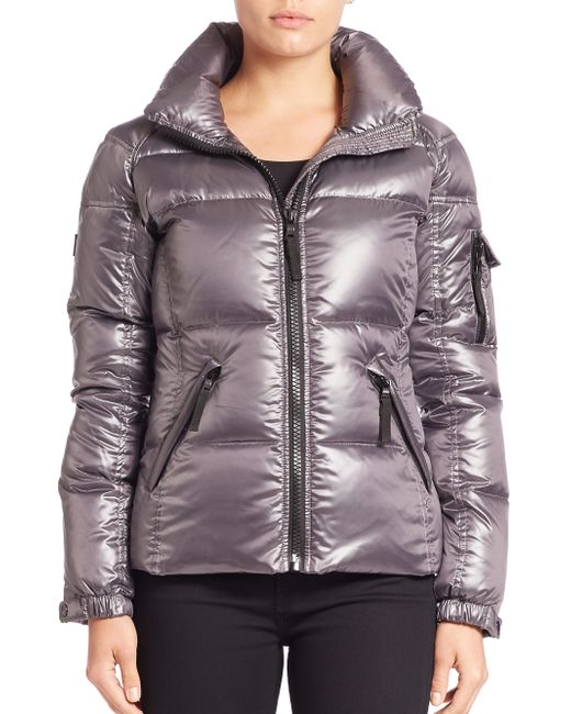 Sam. | Gray Front Zipped Puffer Jacket | Lyst